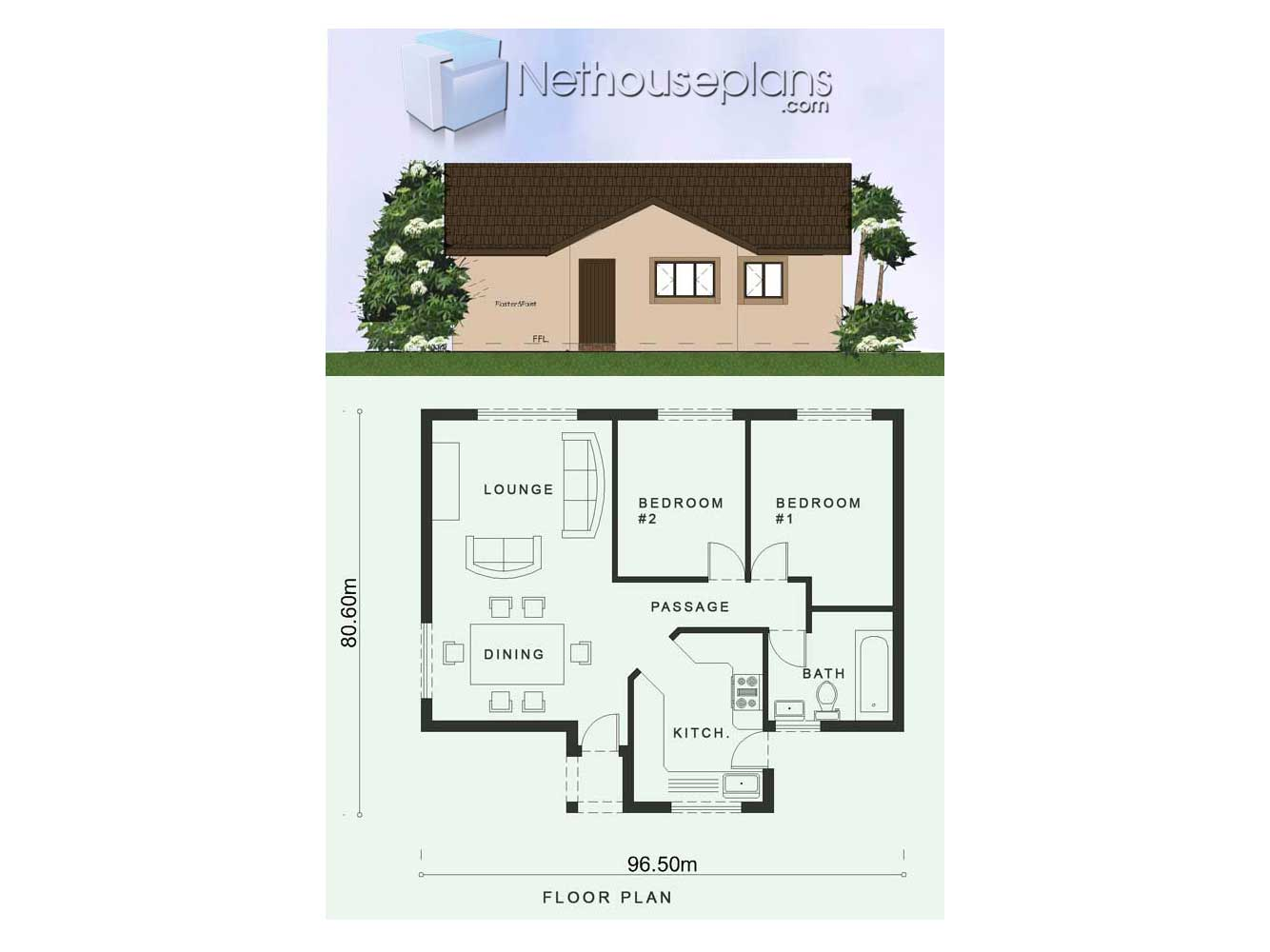 2 Room House Plans | Low Cost 2 Bedroom House Plan ...