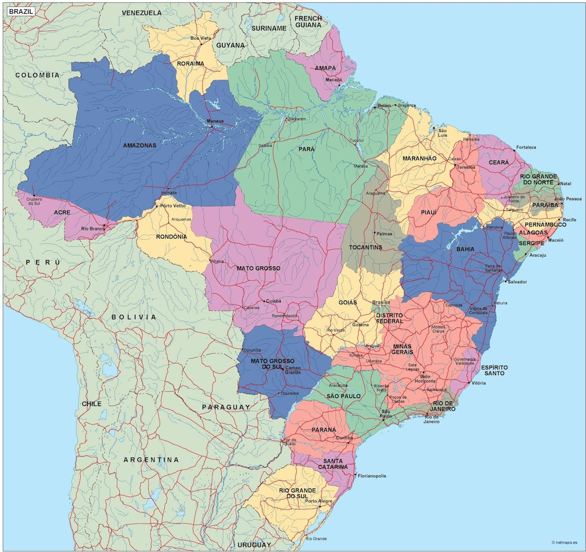 political division of country map   Vector   Wall Maps from Netmaps     brazil political map
