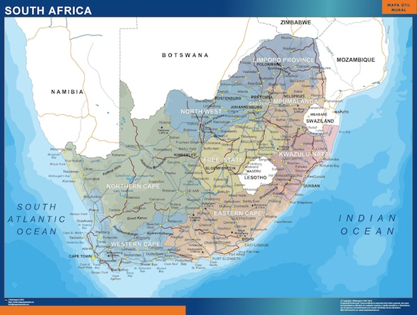 South Africa political map   Vector   Wall Maps from Netmaps      Made     wall map south africa