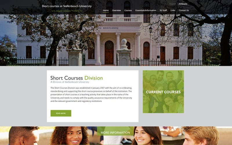 shortcourses-custom-website-development