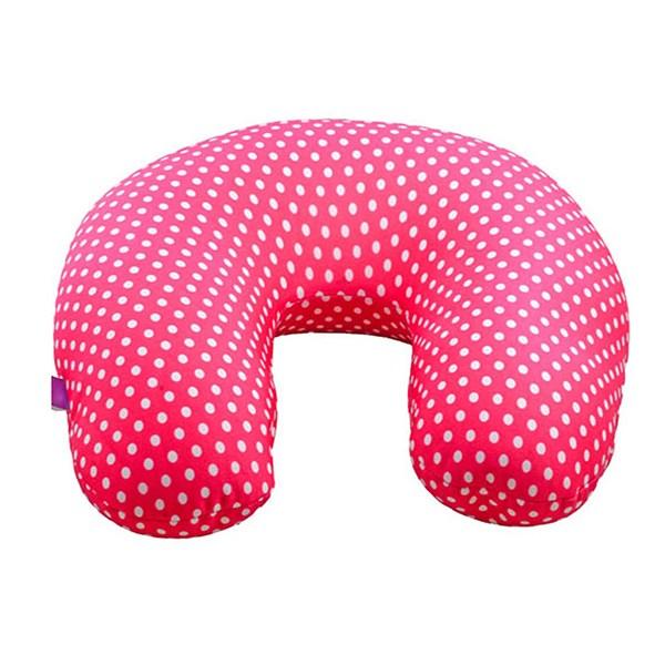 viaggi microbead u shape travel neck pillow pink mini dot