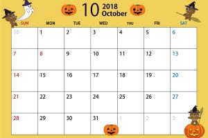 2018年10月のカレンダー