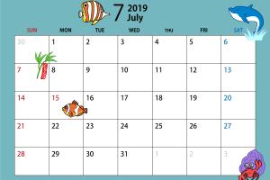 2019年7月のカレンダー