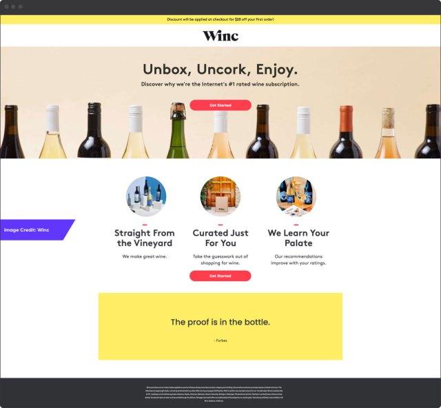 Exemple de Winc    Pages de destination de commerce électronique étonnantes