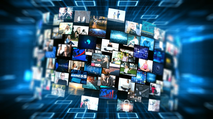 Media concept video wall with small screens