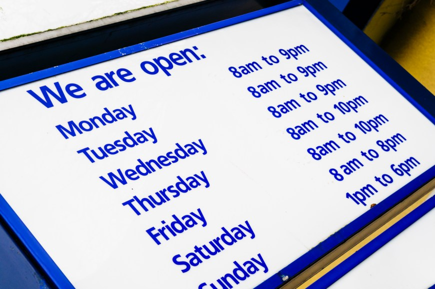 Opening hours at a supermarket