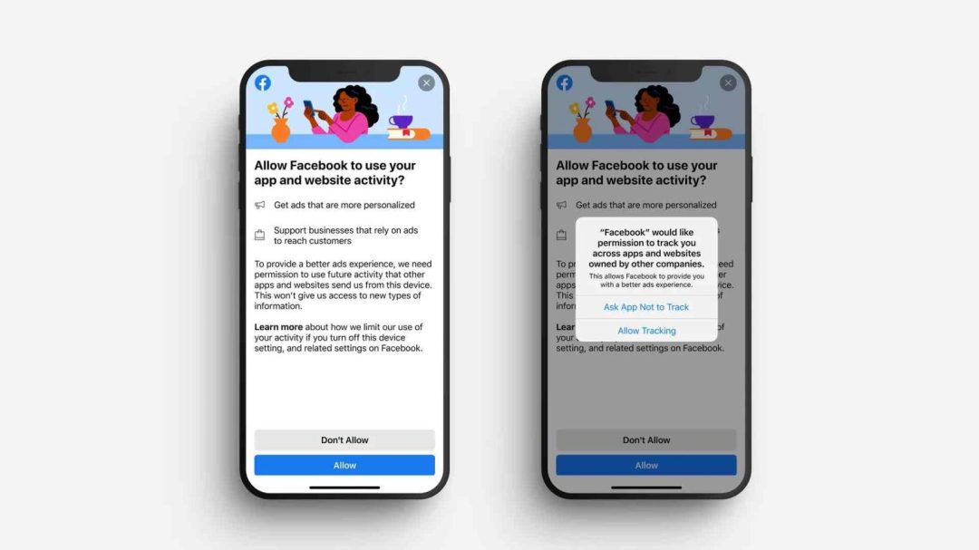 Example of Apple iOS14 and Facebook Privacy Notification on iPhone
