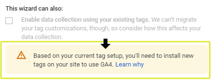 Enable Existing Tags Caution Message