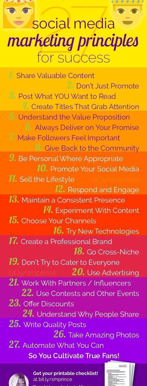 27 Social Media Principles You MUST Know to Succeed Online Infographic