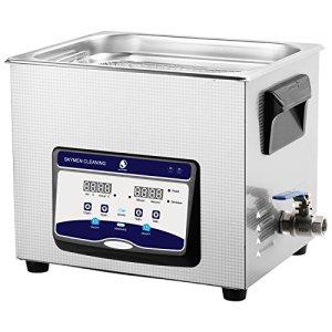 Yijinbo nettoyeur à ultrasons inoxydable de commande numérique de bain de l'industrie pour l'utilisation à domicile de nettoyage de lunettes montres Vaisselle pour dentier Colliers Bijoux montres 10L 240W 40kHz Jp-040s