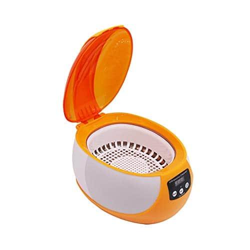 Lvein Nettoyeur à ultrasons Machine, (750ml) Bijoux de Maison Montres dentiers pièces de Monnaie et Plus, Nettoyeur de Soins personnels avec minuterie prolongée,Orange