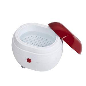 Machine à laver portable à ultrasons Bijoux de ménage Lentilles Montres Prothèses dentaires Machine de nettoyage Machine à laver Nettoyeur Boîte de nettoyage (Rouge et blanc) FRjasnyfall