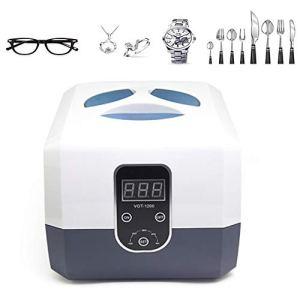 Nettoyeur à ultrasons, nettoyeur de bijoux ultrasonique professionnel avec minuterie numérique, bagues à diamant, colliers, lunettes de vue