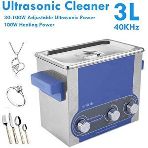 Washing Machine Nettoyeur à Ultrasons Professionnel 3L avec Puissance élevée Réglable Minuterie Chauffage Inoxydable d'acier avec Panier pour Dentiers Verres Montres Articles en Métal Etc Fauay