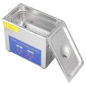 Qiter Machine de Nettoyage par ultrasons, Nettoyeur à ultrasons numérique en Acier Inoxydable, minuterie de Chauffage de Bain Ultra sonique pour Bijoux, bagues, pièces de Monnaie (3L)