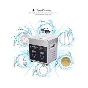 WYKDL Nettoyeur à ultrasons Bouton de commande minuterie de chauffage réglable Machine de nettoyage à ultrasons en acier inoxydable for les bijoux dentiers Lunettes Pièces métalliques 2L Nettoyeur à u