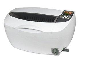 QINGXI Professionnel Nettoyeur à Ultrasons,3.2Qt/3L, Nettoyage Machine avec Numérique Minuteur Plastique Panier pour Bijoux des Lunettes Blanc Couleur