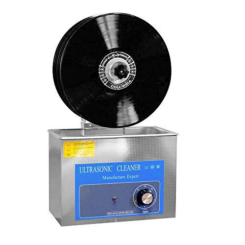 Sawera Nettoyeur À Ultrasons pour Disques Vinyles Puissance Adjustable 140W Minuteire 0-20 mins, Ultrasons Machine de Nettoyage en Acier Inoxydable, sans endommager la Surface d'enregistrement, 4L