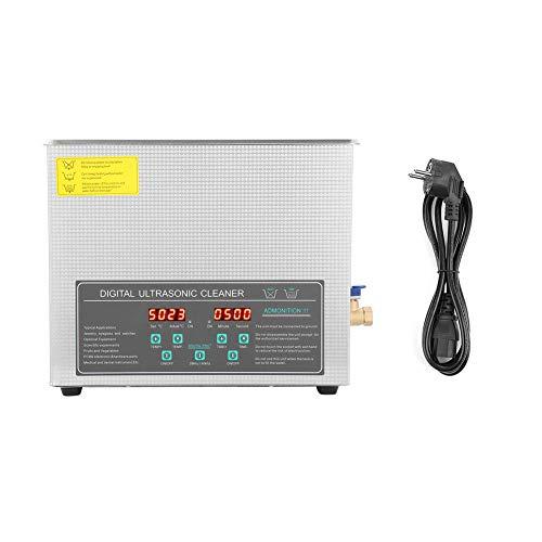 Appareil de nettoyage à ultrasons à double fréquence, 10 l, acier inoxydable, nettoyeur numérique à ultrasons, pour montres, bijoux, colliers, prise UE 220 V