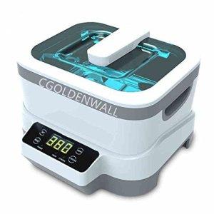 Cgoldenwall nettoyeur à ultrasons 1.2L Digital Ultrasons machine de nettoyage à ultrasons stérilisateur Cleaner stérilisation désinfection pour nettoyer Lunettes/bijoux/Plus avec Liner en acier inoxydable avec certification CE