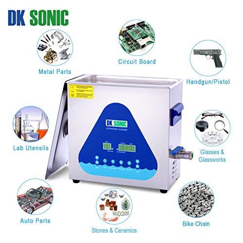 DKSONIC 6.5L Nettoyeur à ultrasons de bureau avec SEMI WAVE et FULLWAVE Modes de nettoyage Bijoux Pièces de monnaie Montres Lunettes Circuits imprimés Pistolets à têtes d'outils