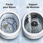 ABOX Nettoyeur à Ultrasons, 750ML Appareil de Nettoyage Domestique avec 5 Réglages du Temps, Panier et Support de Montre pour Nettoyage Bijoux, Bagues, Lunettes, Dentier, Montre