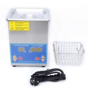 Belissy 2L Nettoyeur à ultrasons en Acier Inoxydable avec Chauffage minuterie numérique LED for Lunettes Bijoux (UE 200-240)