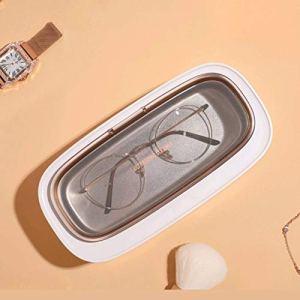 DWXN Nettoyeur a ultrasons pour Bijoux Portable 300ml, avec 4 Modes de Temps Arrêt Automatique, Appareil de Nettoyage Domestique pour Montres Lunettes Prothèses Dentaires-Blanc