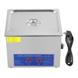 Nettoyeur à ultrasons 15 l écran numérique, machine de nettoyage à ultrasons en acier inoxydable, pour bijoux lunettes, montre, montre, pièces et beaucoup d'autres