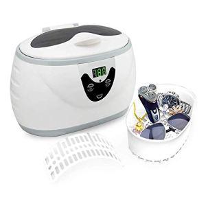 XXND Non Toxique Nettoyeur à ultrasons, 600ML Nettoyeur de pièces en Acier Inoxydable Professional Nettoyeur à ultrasons de Bijoux avec minuterie numérique 1118 (Color : White)