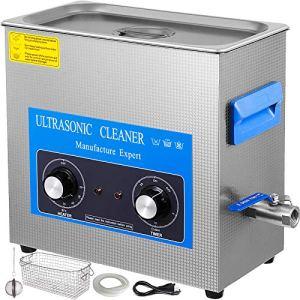 VEVOR Nettoyeur à Ultrasons avec Minuterie de Chauffage, Professionnel Nettoyeur à Ultrasons 220V, Nettoyeur Ultrasons en Acier Inoxydable 40 kHz pour Nettoyage des Bagues de Lunettes Instrument (10L)