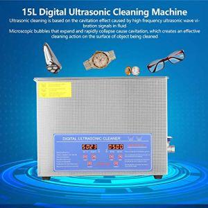 Wakects Nettoyeur à ultrasons 15 l, machine à ultrasons avec écran numérique en acier inoxydable, pour bijoux, lunettes, montre, montres, quincaillerie domestique, etc.