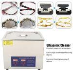 Nettoyeur à ultrasons 15L, Machine à laver à ultrasons avec chauffage par minuterie à affichage numérique, Machine de nettoyage à ultrasons professionnelle pour le nettoyage des lunettes de bijoux(EU)