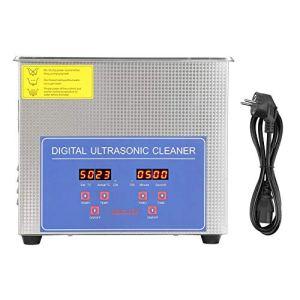 Nettoyeur à ultrasons en acier inoxydable numérique à ultrasons pour salle de bain, appareil avec minuteur numérique pour lunettes (2 L)