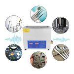 Nettoyeur sonique 6L 240W, Machine de nettoyage à ultrasons en acier inoxydable à large application Nettoyeur à ultrasons commercial pour prothèses dentaires Lunettes, montres, métal