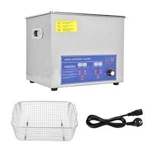 Nettoyeur ultrasonique de bijoux 10L, nettoyeur ultrasonique numérique 40AL machine de nettoyage ultrasonique de température réglable (prise UE)