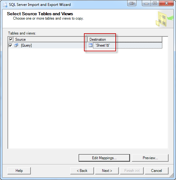 Select Source Tables and Views
