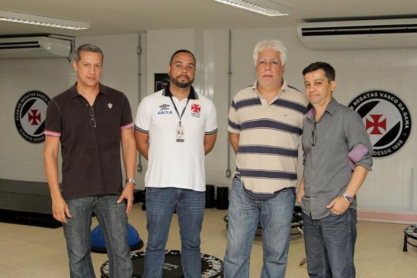 Márcio Saldanha, Carlos Herdy, Egas Manoel e Alex Evangelista nas dependências do Caprres/Base