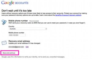 Google Account Contact Details for Recovery