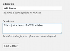 Add in title & (opt) description for your Widgetize Pages Light sidebar