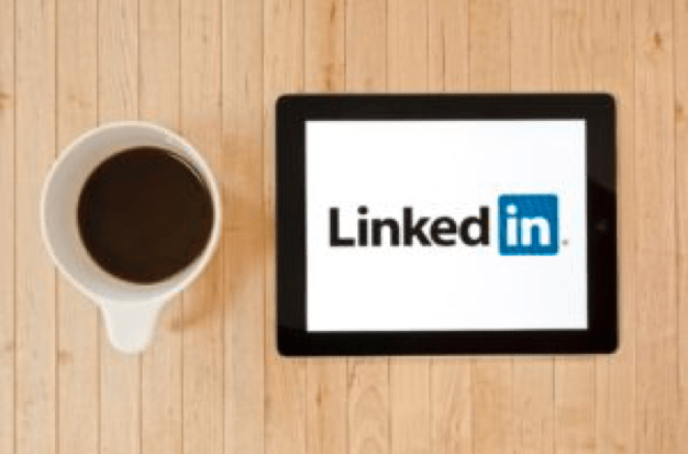 linkedin tablet with coffee