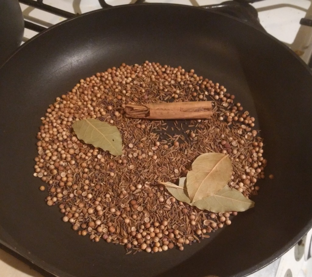 Toasting the Seeds for the epic tandoori chicken recipe