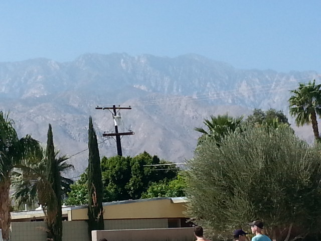 Street view of San Jacinto Mtns.  Note utility pole: Electrical lines are still above ground