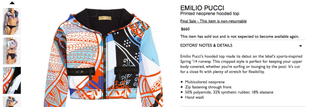 Screen shot of Pucci Jacket