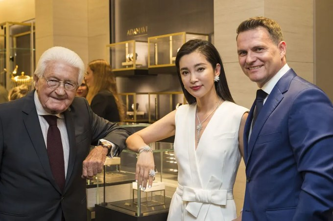 Carl F. Bucherer Boutique Opening Lucerne, the first Carl F. Bucherer Boutique in their hometown where the brand was founded almost 130 years ago, Joerg G. Bucherer, the owner, Li Bingbing, famous Chinese Actress and global brand ambassador of Carl F. Bucherer, and CEO Sascha Moeri, photographed at the opening ceremony, 24. August 17, in Lucerne, Switzerland. (PPR/Dominik Baur)