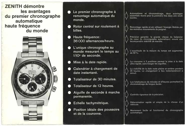 Zenith-Broschüre von 1969