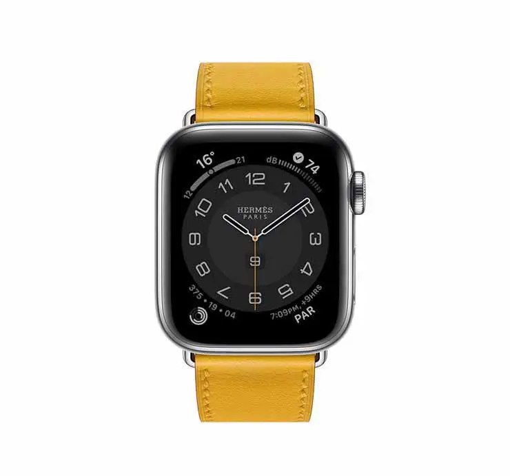 Apple Watch Hermes Series 6 44mm Ambre Swift Calfskin Simple Tour Strap.