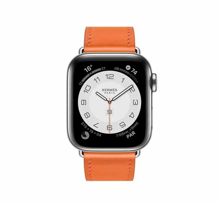 Apple Watch Hermes Series 6 44mm Orange Swift Calfskin Simple Tour Strap.