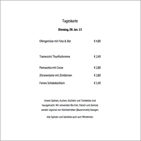 Hammerstein & Maier Tageskarte Di 8. 1. 13