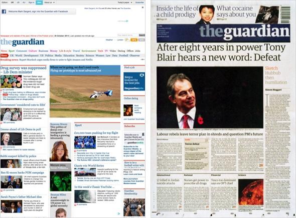 Beta Version und Druckausgabe The Guardian.